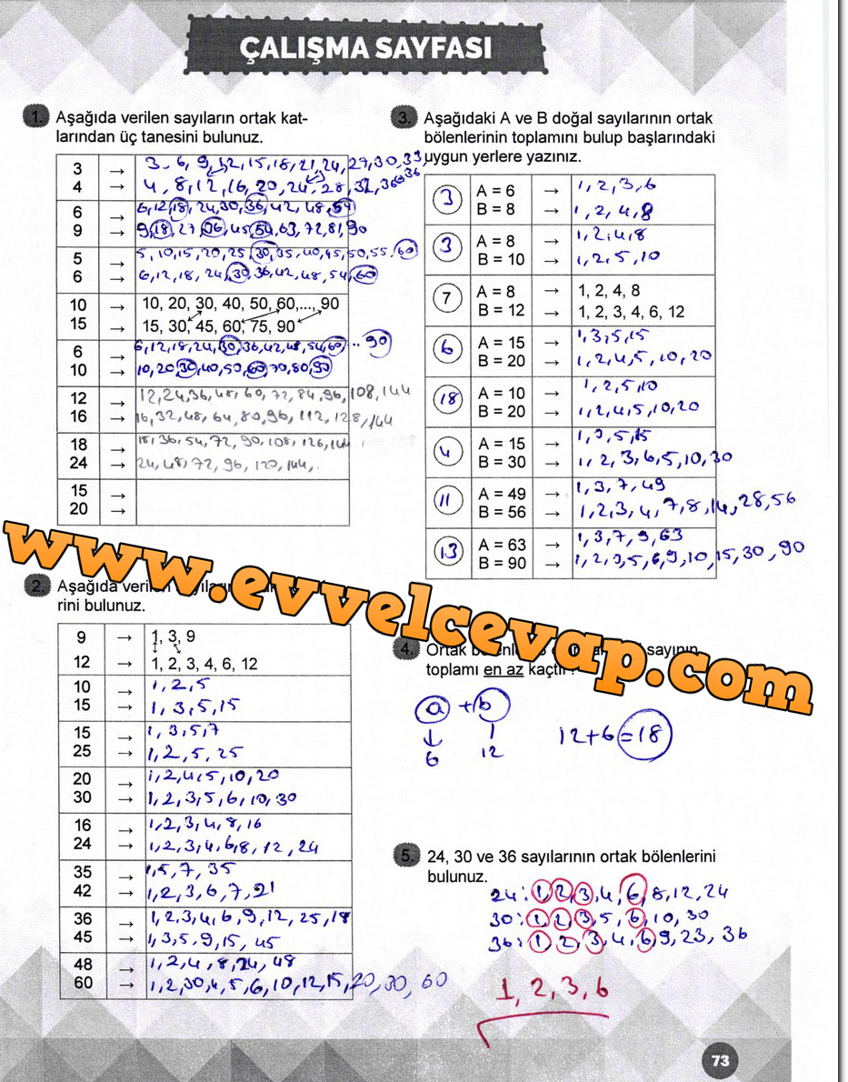 6 Sinif Matematik Meb Yayinlari Ders Kitabi Cevaplari Sayfa 73