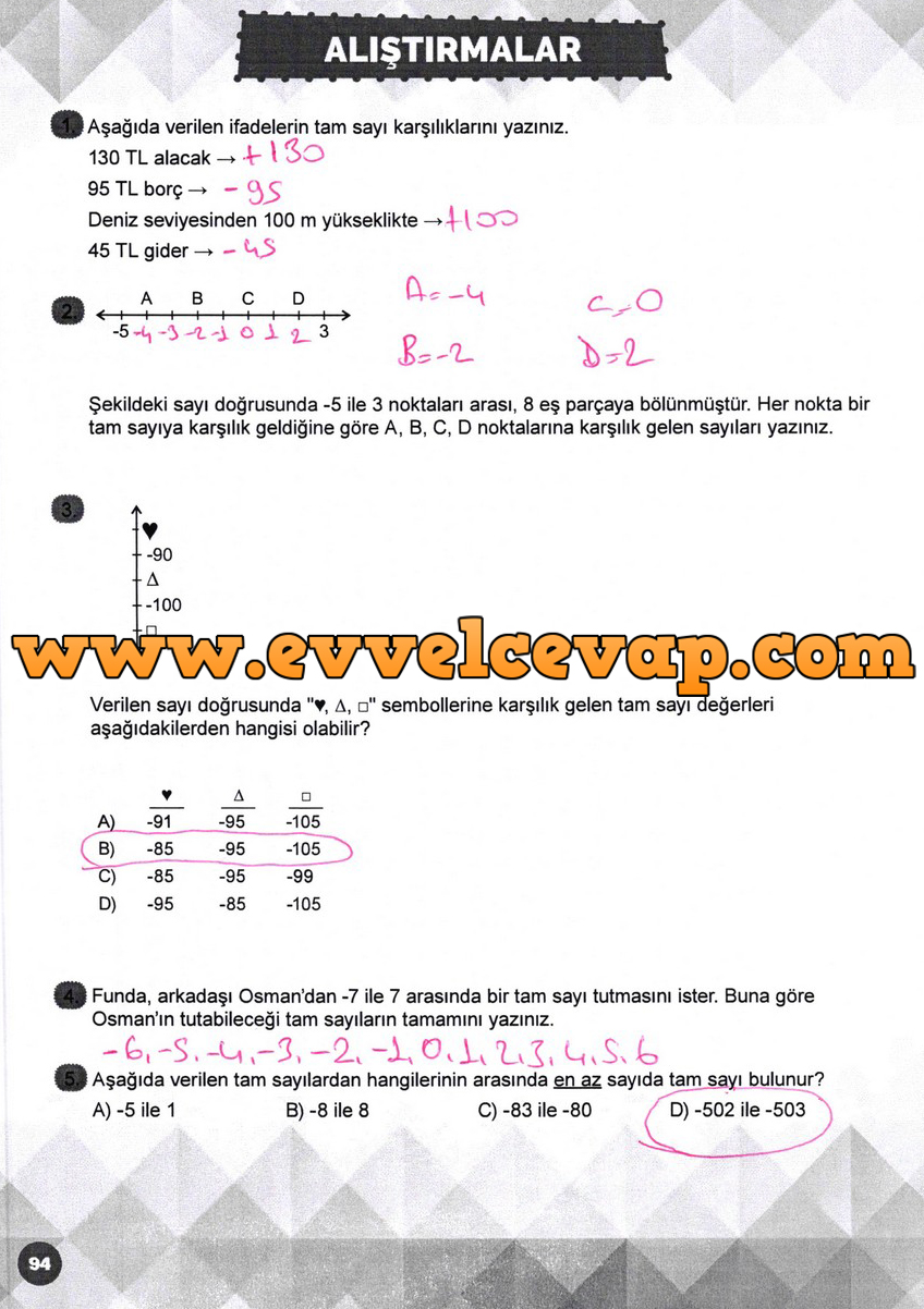 6 Sinif Matematik Meb Yayinlari Ders Kitabi Cevaplari Sayfa 94