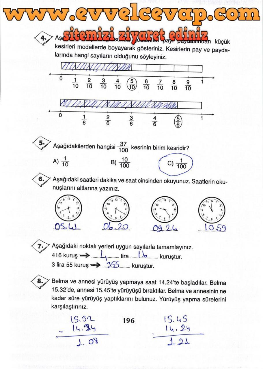 3 Sinif Matematik Ada Yayinlari Ders Kitabi Cevaplari Sayfa 196