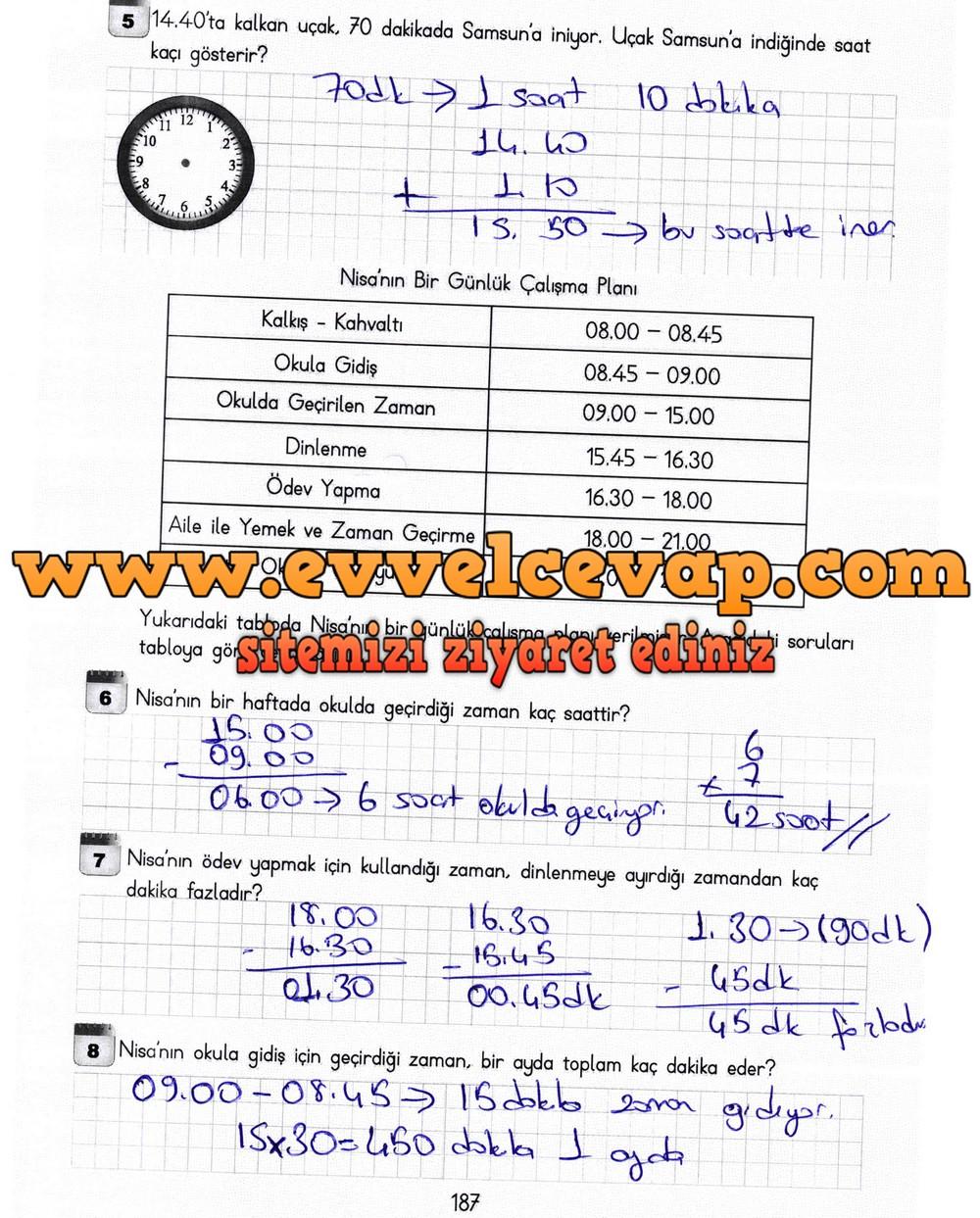 3 Sinif Matematik Meb Yayinlari Ders Kitabi Cevaplari Sayfa 187
