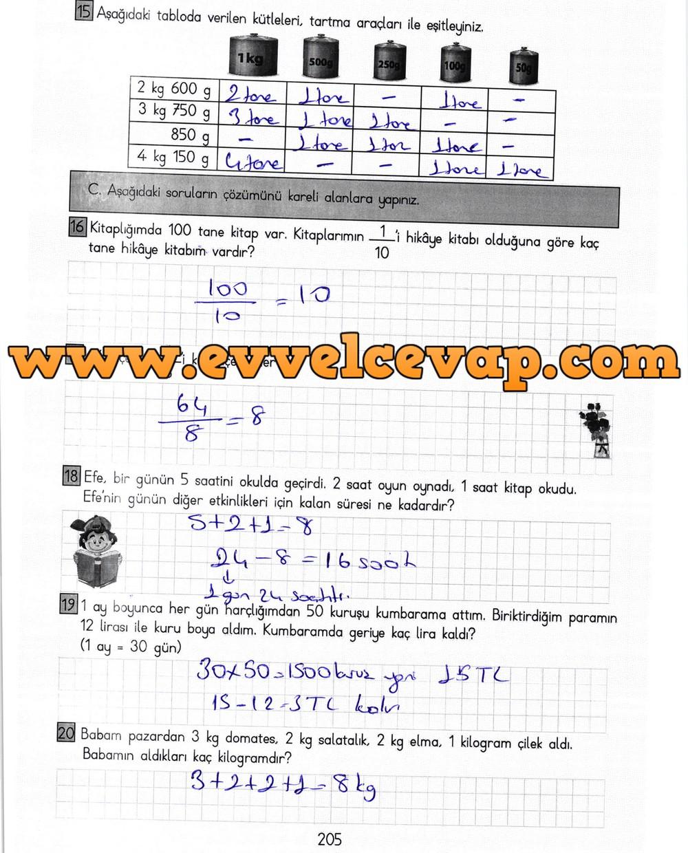 3 Sinif Matematik Meb Yayinlari Ders Kitabi Cevaplari Sayfa 205