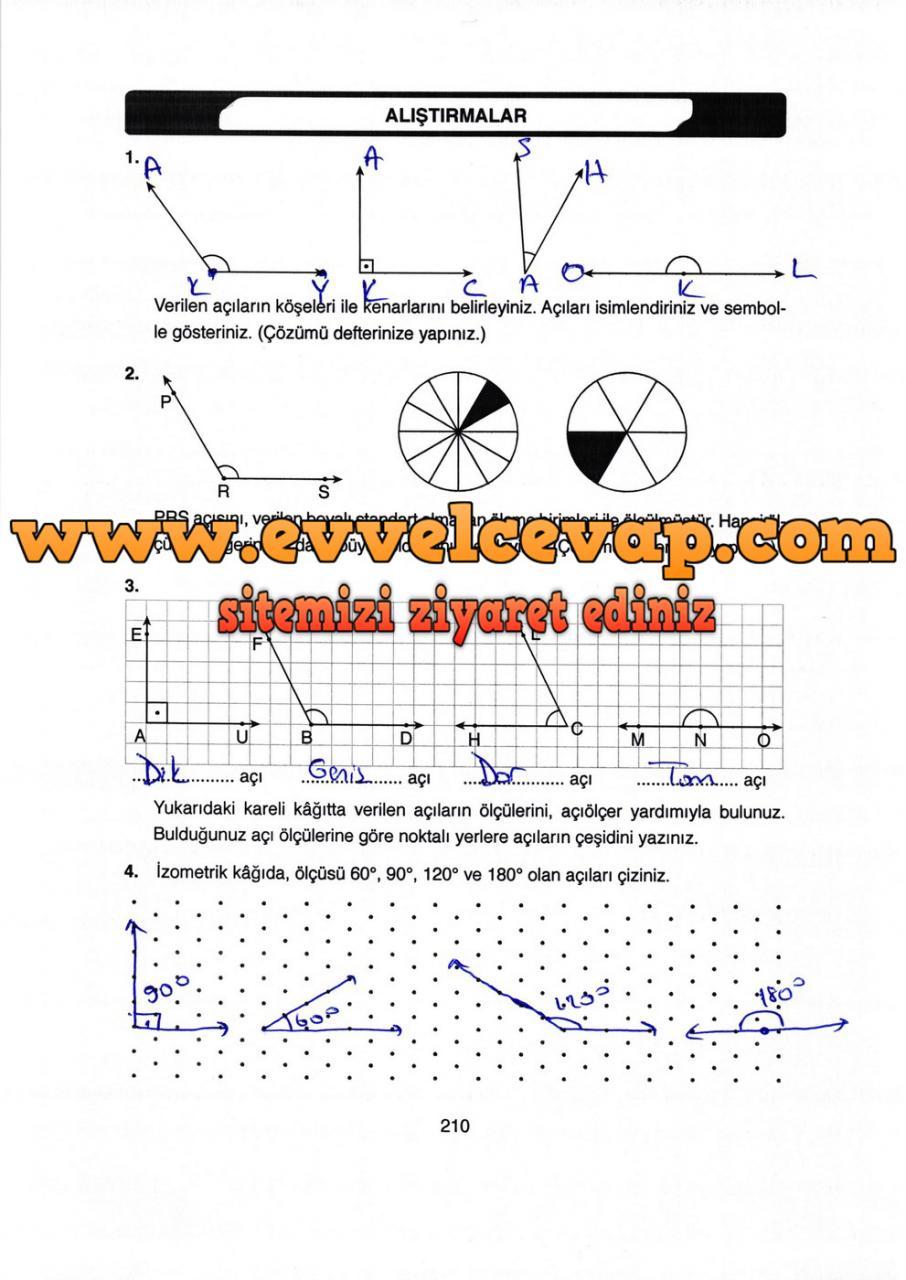 4 Sinif Matematik Ata Yayinlari Ders Kitabi Cevaplari Sayfa 210