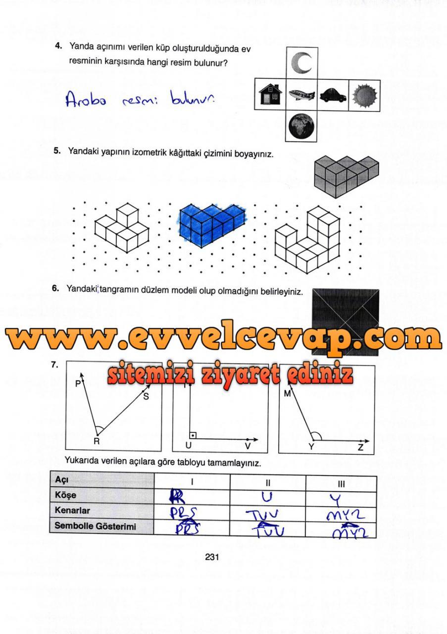 4 Sinif Matematik Ata Yayinlari Ders Kitabi Cevaplari Sayfa 231