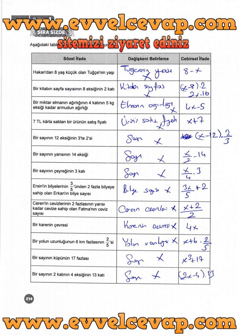 6 Sinif Matematik Meb Yayinlari Ders Kitabi Cevaplari Sayfa 214