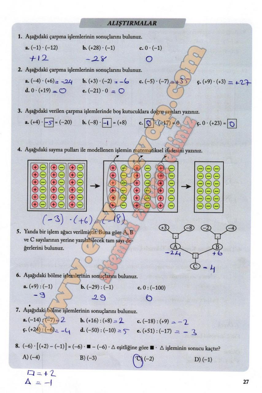 7 Sinif Matematik Ekoyay Yayinlari Ders Kitabi Cevaplari Sayfa 27