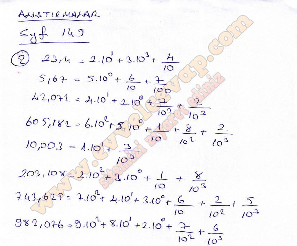 6 Sinif Matematik Ogun Yayinlari Ders Kitabi Cevaplari Sayfa 149