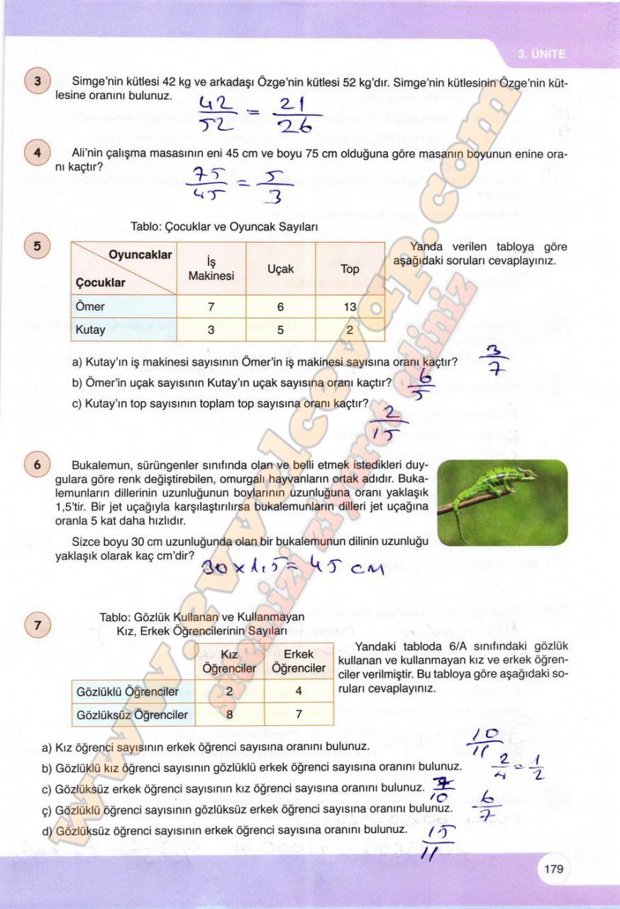 6 Sinif Matematik Ogun Yayinlari Ders Kitabi Cevaplari Sayfa 179