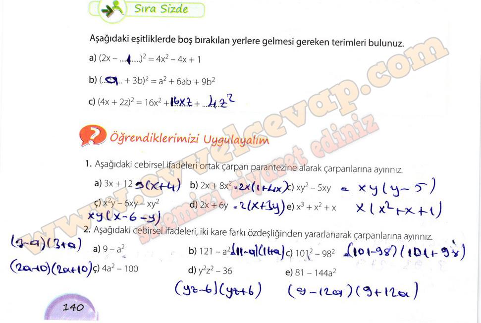 8 Sinif Matematik Kok E Yayinlari Ders Kitabi Cevaplari Sayfa 140
