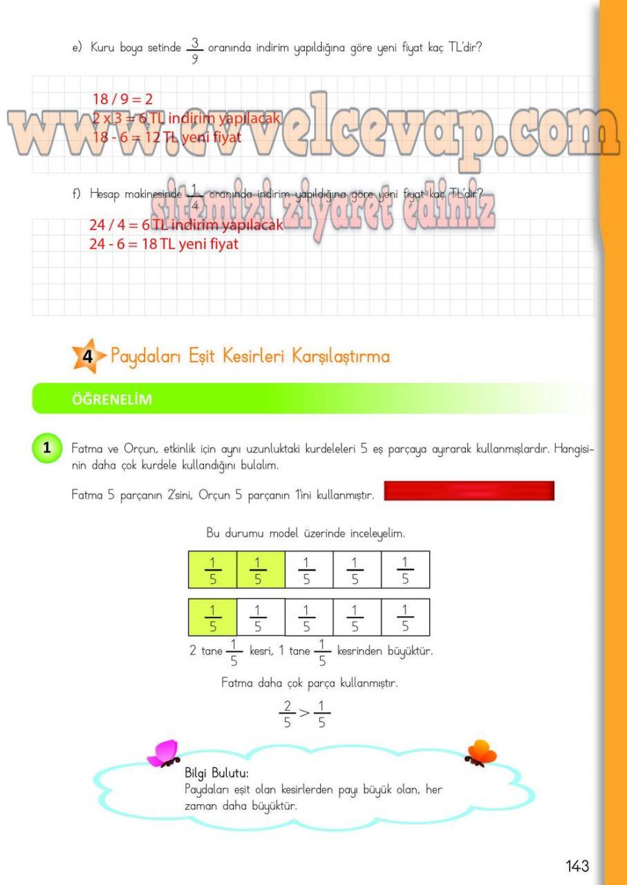 4 Sinif Matematik Meb Yayinlari Ders Kitabi Cevaplari Sayfa 143