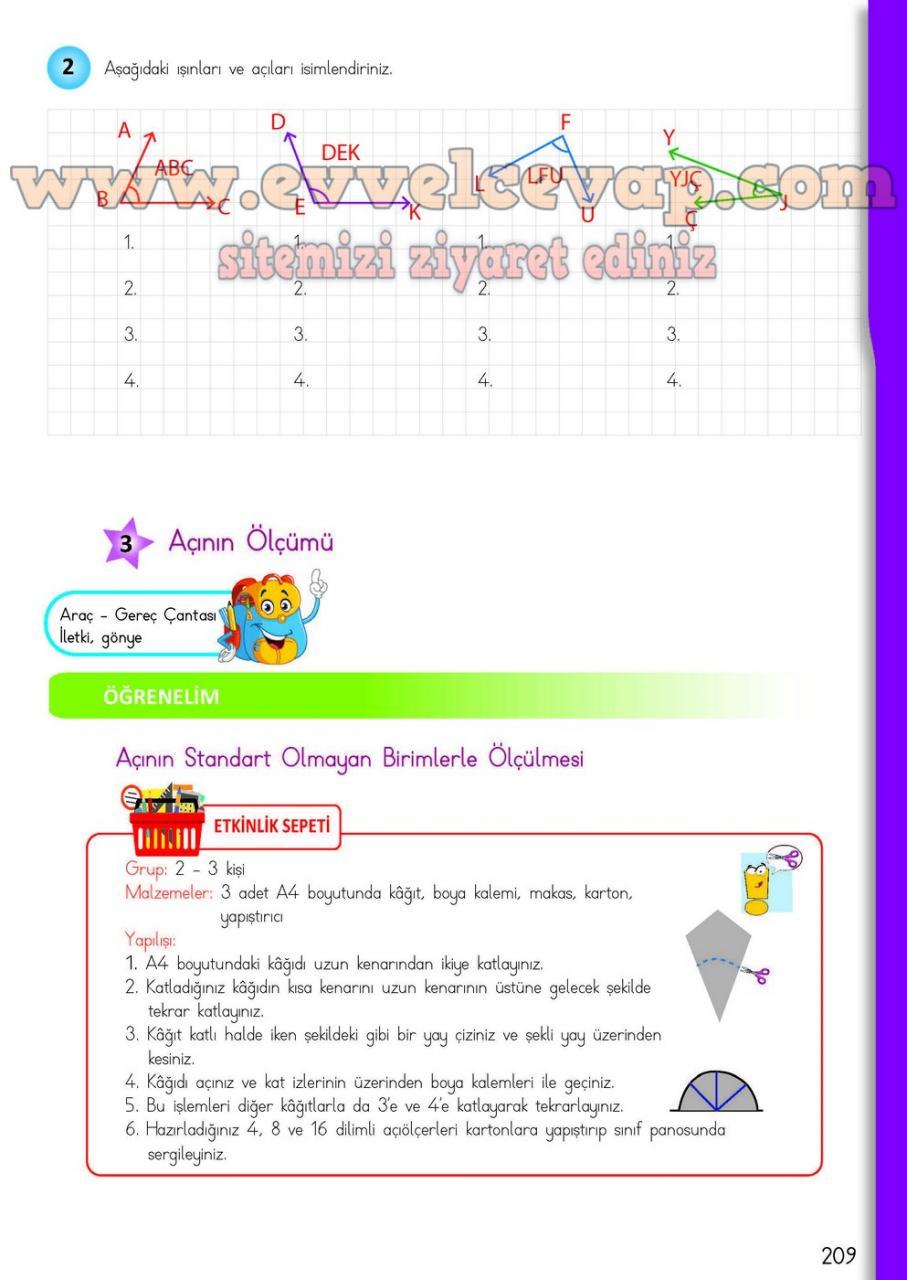 4 Sinif Matematik Meb Yayinlari Ders Kitabi Cevaplari Sayfa 209