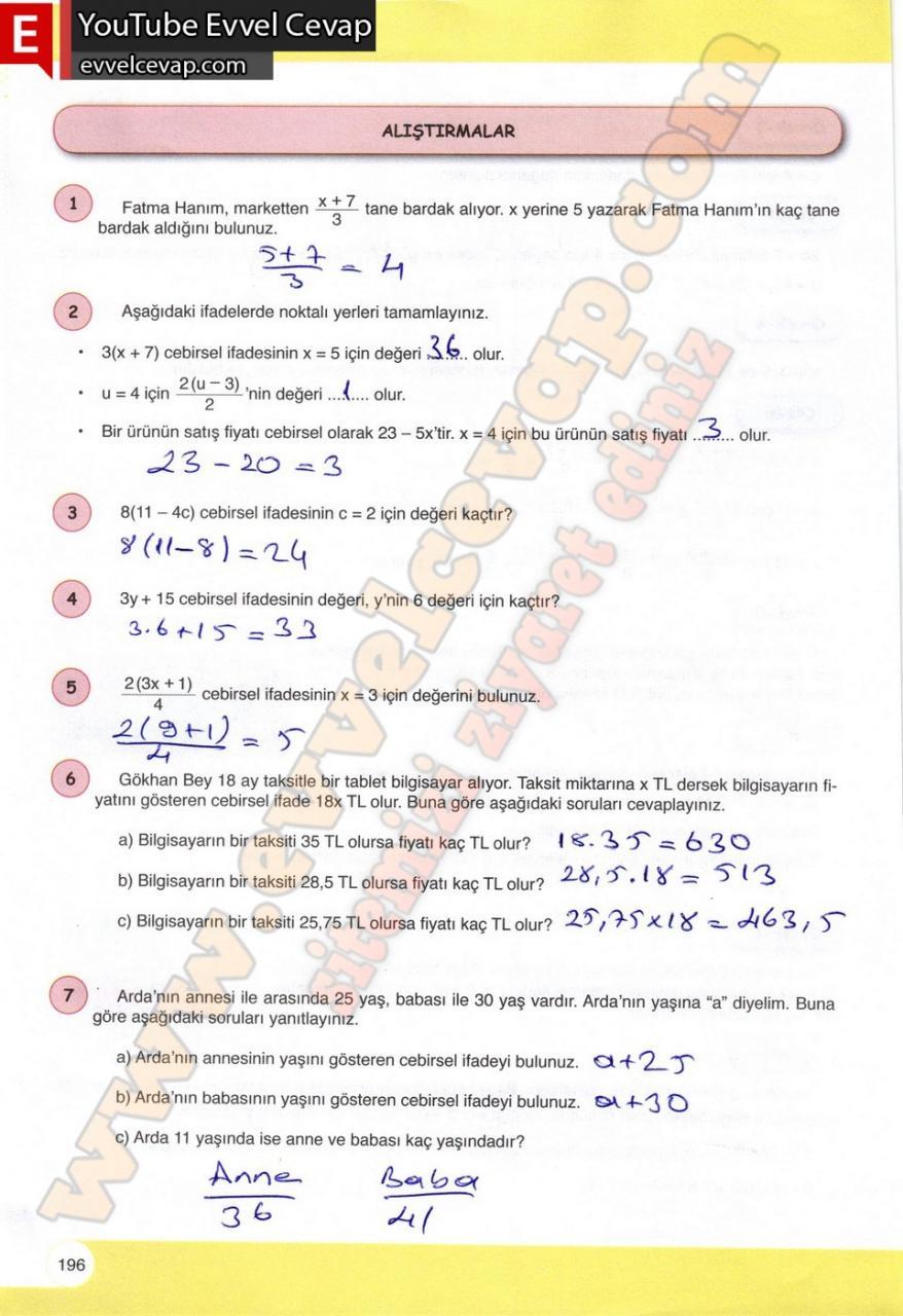 6 Sinif Matematik Ogun Yayinlari Ders Kitabi Cevaplari Sayfa 196